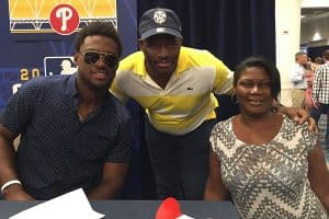 Herrera with his mother and father at this year's All Star Game Media Day in San Diego, via Philly.com.
