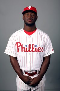 CLEARWATER, FL - FEBRUARY 26: Odubel Herrera #37 of the Philadelphia Phillies poses during Photo Day on Friday, February 26, 2016 at Bright House Field in Clearwater, Florida. (Photo by Robbie Rogers/MLB Photos via Getty Images) *** Local Caption *** Odubel Herrera