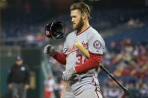 Apr 10, 2015; Philadelphia, PA, USA; Washington Nationals right fielder Bryce Harper (34) reacts to striking out against the Philadelphia Phillies at Citizens Bank Park. The Phillies won 4-1. Mandatory Credit: Bill Streicher-USA TODAY Sports