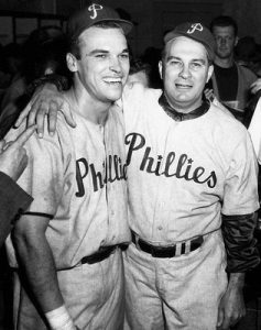 Dick Sisler (left) celebrating his pennant winning home run.