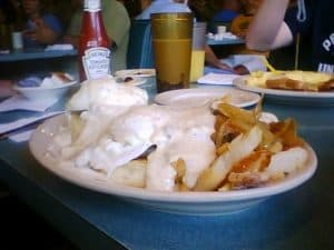 The Redneck Benedict, one of the many monstrous breakfasts at Lenny's.