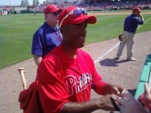 71b0bcf046a Phillies shortstop Jimmy Rollins greets fans during 2011 spring training in  Clearwater
