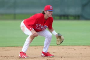 b87e5a4df9a0fa Clearwater, FL – JUN 19: 2018 first round pick of the Philadelphia Phillies  Alec Bohm (18) at third base during the Gulf Coast League (GCL) game  between the ...