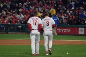 fafc783adbb Rhys Hoskins (left) and Bryce Harper (right) are the current faces of the  Phillies. (Ian D Andrea)