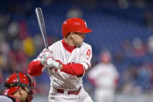 d3889fda4 Scott Kingery and the Phillies tried helmets with a lifted logo at the  beginning of the 2018 season. (Gavin Baker Icon Sportswire)